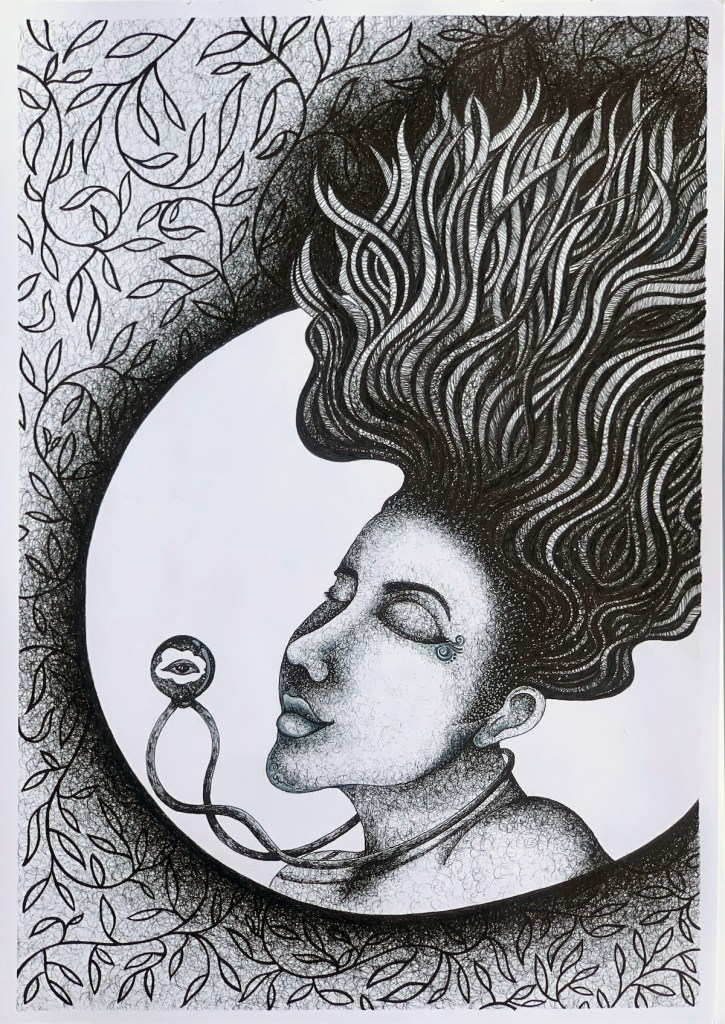 Rumination 2   Pen and Ink on Handmade Sheets   16.5 in * 11.5 in