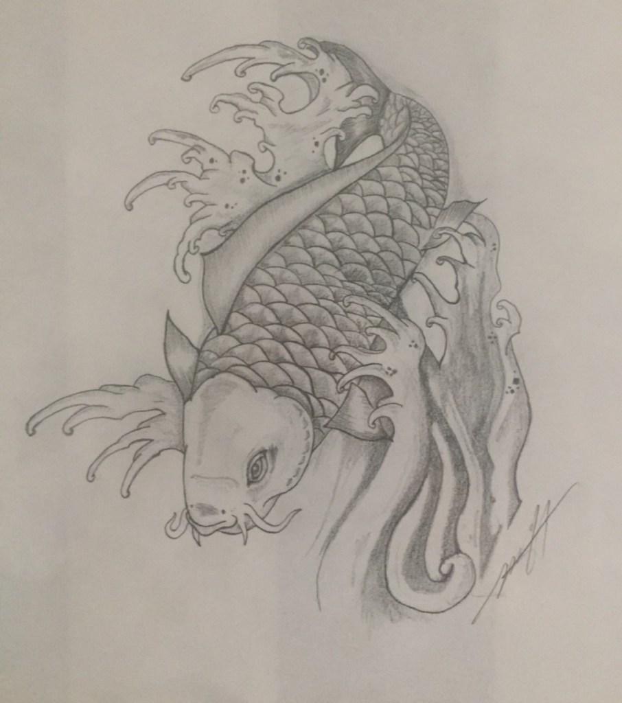 Koi #1 | Graphite pencil on Custom handmade paper | 16x20