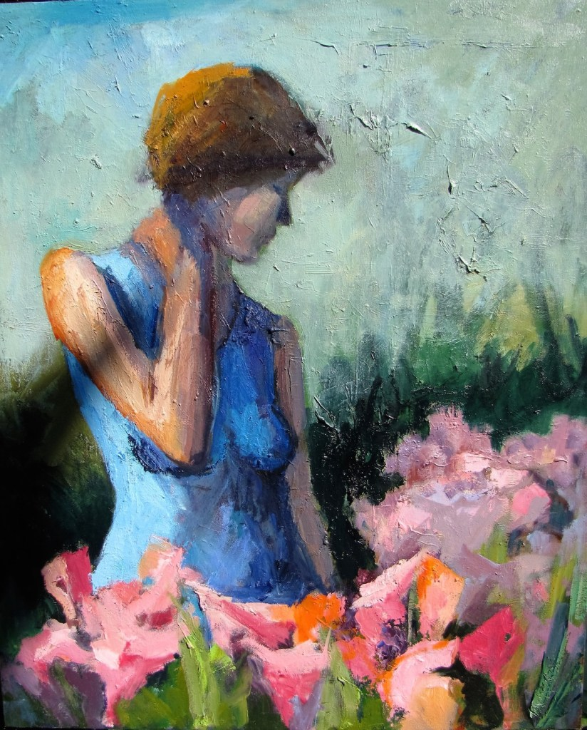 Woman in the Garden | Oil on canvas | 36 x 30 inches