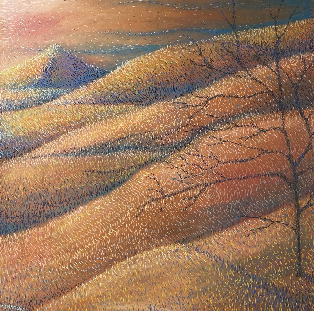 A Tree Atop the Flowing Hills | Pastel on Wood | 30W x 30H
