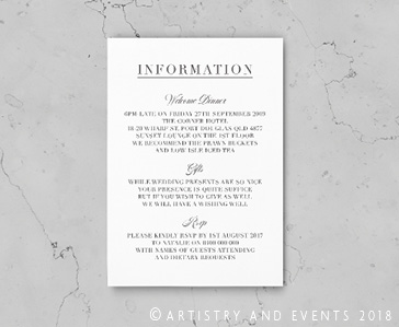 letterpress information card