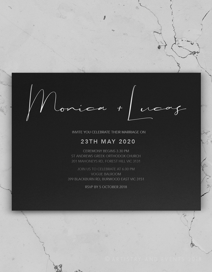 black rustic invite