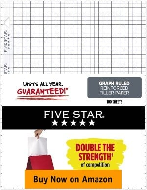Five Star Loose Leaf Reinforced Filler Paper, Graph Ruled, 11 x 8-½ inches
