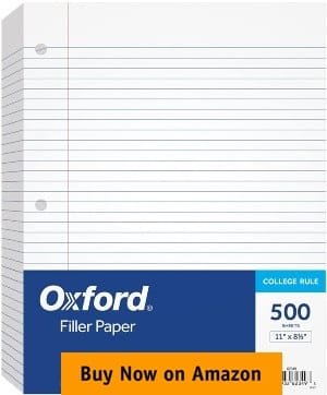 "Oxford Filler Paper 8-½"" x 11"" College Rule Loose Leaf Paper"