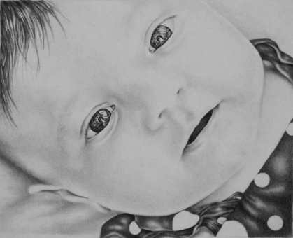"""""""Baby Gaze"""" 8""""x10"""" Pencil on Paper, SOLD"""