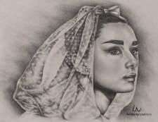 """Portrait of Hepburn as Bride"", 9 x 12"", Graphite Pencil on Watercolor Paper, SOLD"
