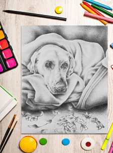 http://artistrybylisamarie.com/product/printable-coloring-page-dog-in-blanket/