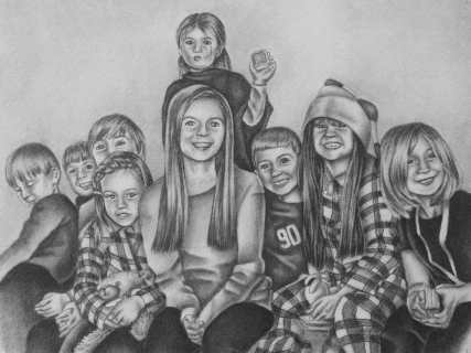 new custom drawing pencil portrait of grandchildren artistry by