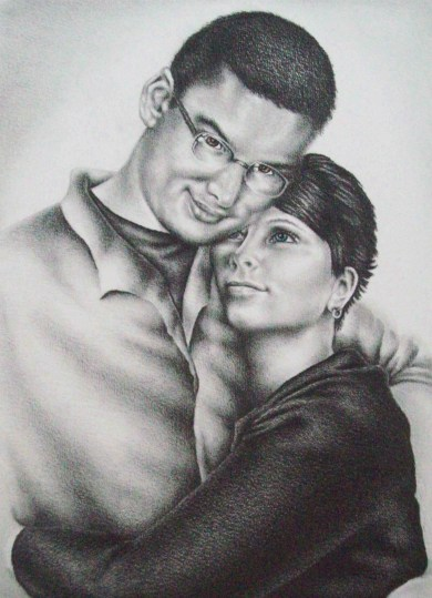 """Josh and Veronica,"" 10"" x 8"", Graphite and Colored Pencil on Watercolor Paper, SOLD"