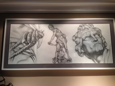"Detail of drawing of Bernini's ""David"" on client's wall"