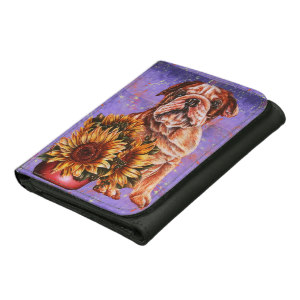 Bulldog and Sunflowers on wallet http://www.zazzle.com/drawing_of_bulldog_sunflowers_with_purple_paint_wallet-256906270142763879