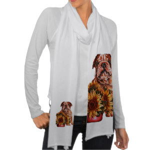 Bulldog and Sunflowers on Scarf http://www.zazzle.com/drawing_of_bulldog_with_sunflowers_on_scarf-256554805857943116