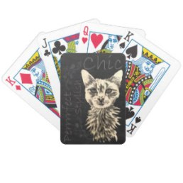Chalk Drawing of White Cat on Playing Cards http://www.zazzle.com/drawing_of_white_cat_in_chalk_playingcard-256027640392558619
