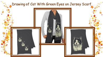 Stay warm and look fabulous with this scarf featuring a beautiful drawing of a cat with green eyes. http://www.zazzle.com/drawing_of_green_eyes_and_red_nose_cat_on_scarf-256645980518869209