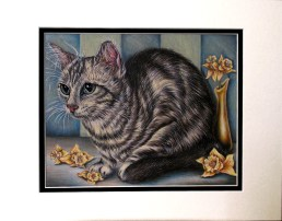 """""""Cat with Daffodils"""" 8"""" x 10"""", $60 Colored Pencil and Pastel on Paper"""