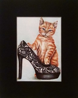 """Cat with Black Lace Shoe, 5""""x7"""", $50, Colored Pencil and Ink on Paper"""