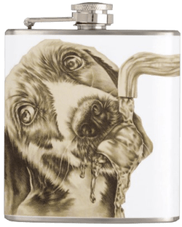 http://www.zazzle.com/drawing_of_dog_drinking_on_flask-256677151573131702