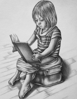 """Drawing of Child Reading"" Graphite Pencil on Paper, 8""x10"", SOLD"