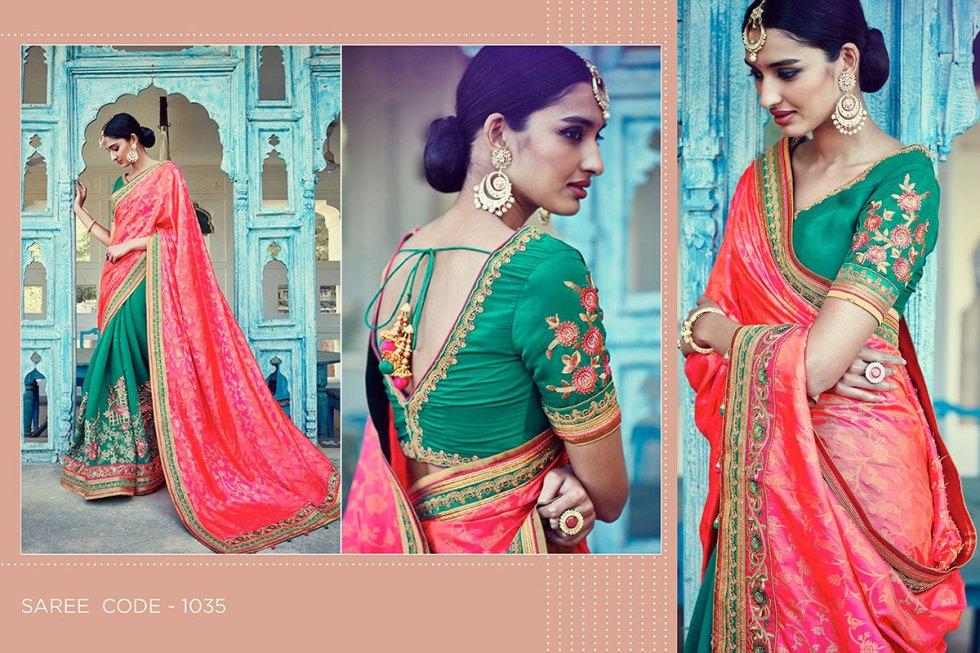 Kimora Sunehri Heavy Embroidery Sarees KS1035