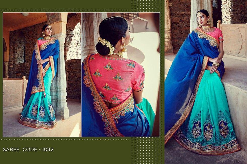 Kimora Sunehri Heavy Embroidery Sarees KS1042