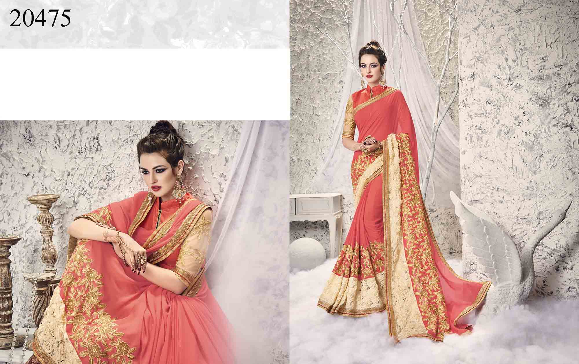 Peach Georgette And Net Big Border Saree Shehzadi 20475