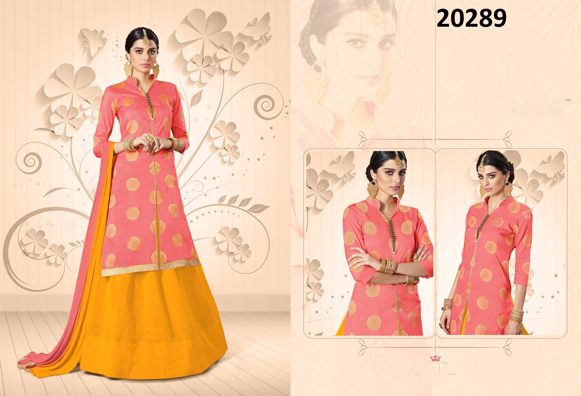 Peach Taffeta Jacquard Long Kurta with Lehenga Design no Amruta 20289