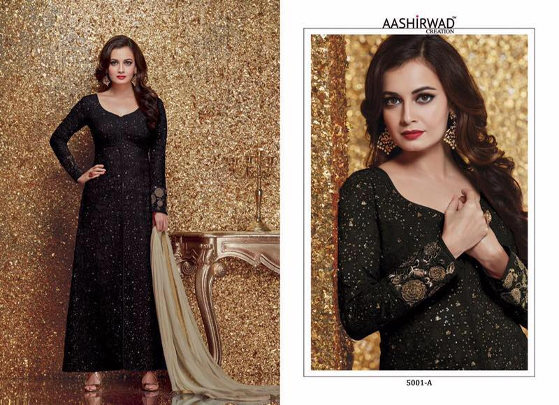 Diya Mirza Floor Length Salwar Suits 5001 A