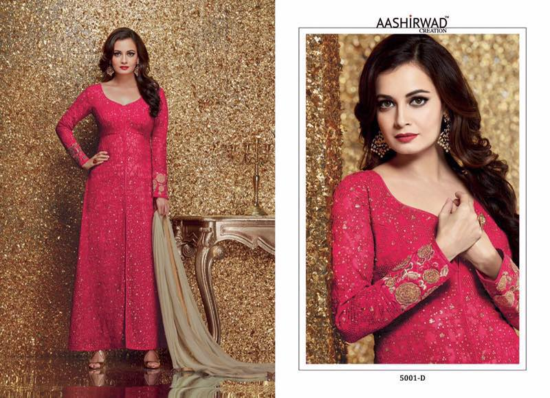 Diya Mirza Floor Length Salwar Suits 5001 D