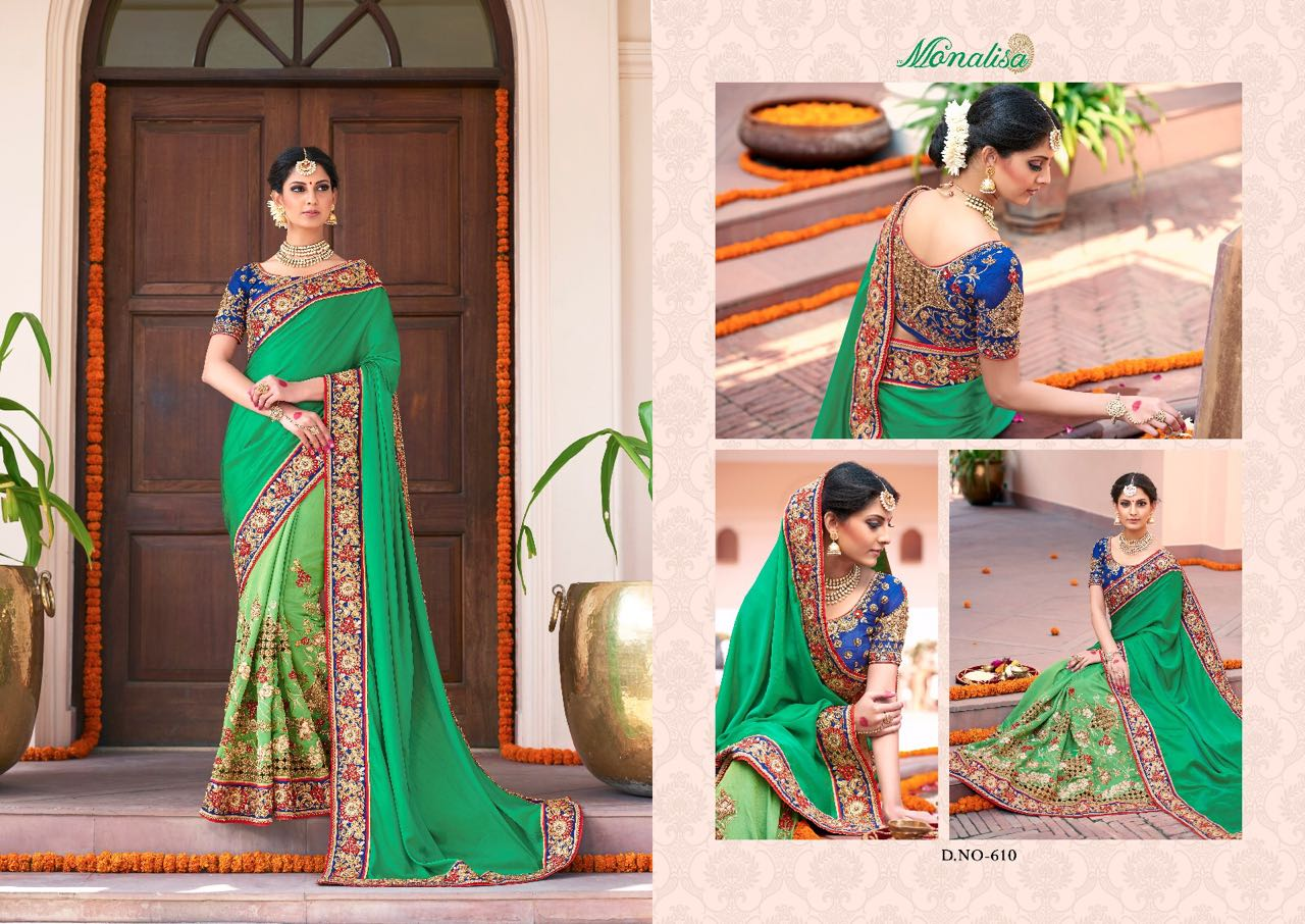 Monalisa v6 Bridal Sarees MM610 | Bridal Wear for LadiesShop Online Monalisa v6 Bridal Sarees MM610 @ArtistryC | Best Price: Rs 6645 or $ 111 | Free shipping in India - International shipping