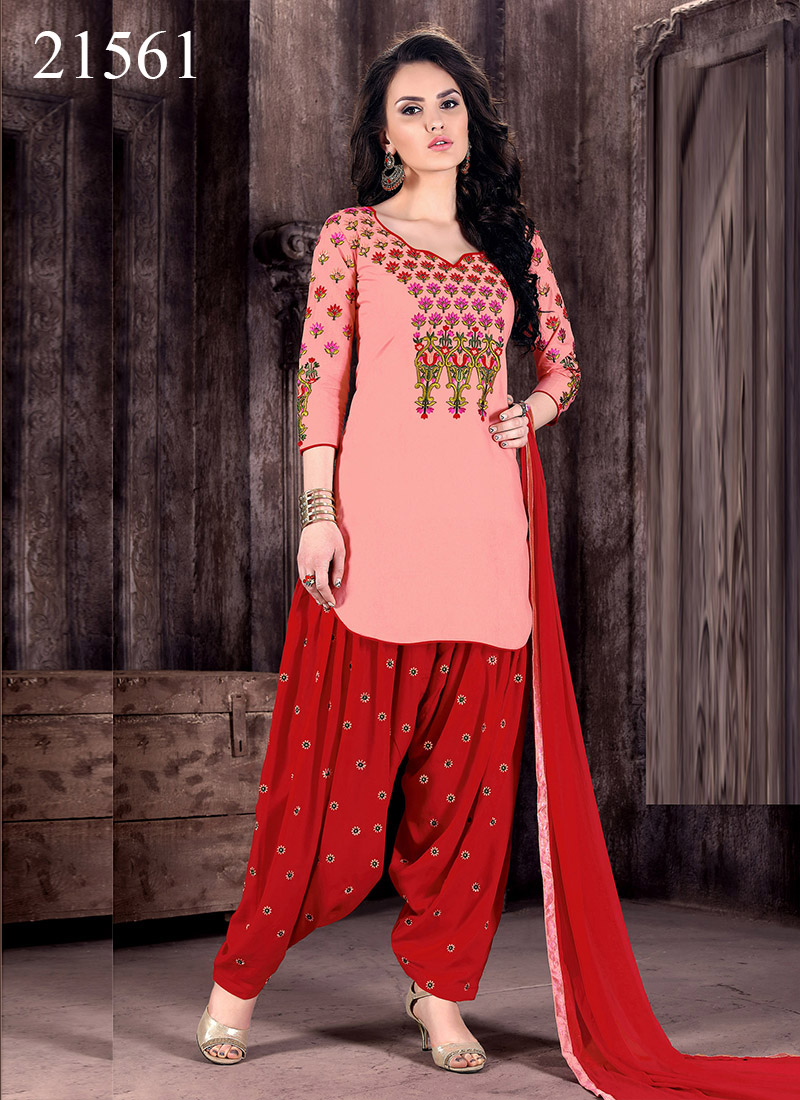 Peach Cambric Cotton Patiala Dress Material Kitty 21561