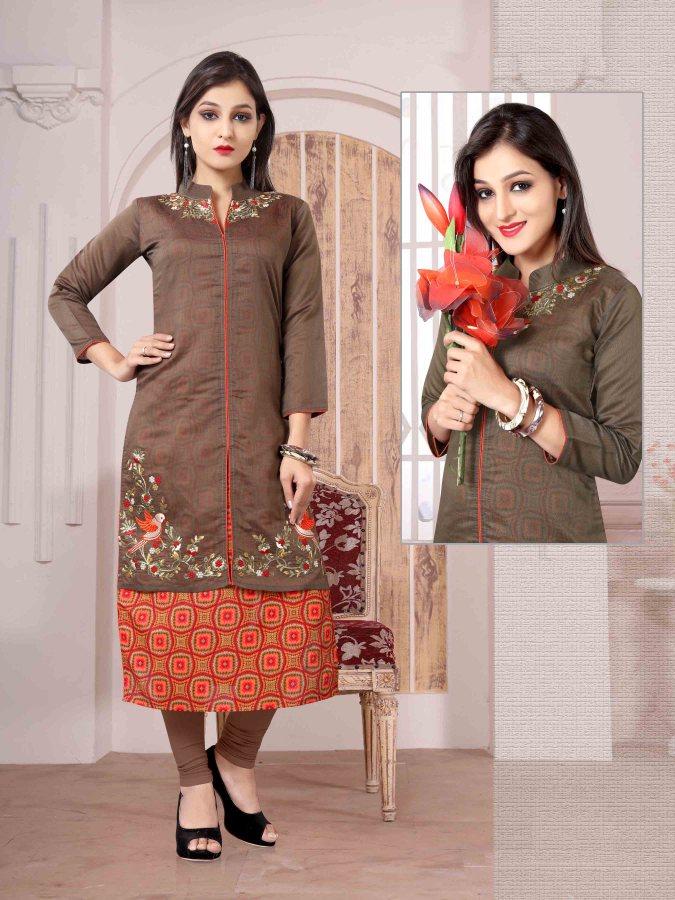 Chanderi Chex & Rayon Kurti Nexa CB064 | Readymade Wear