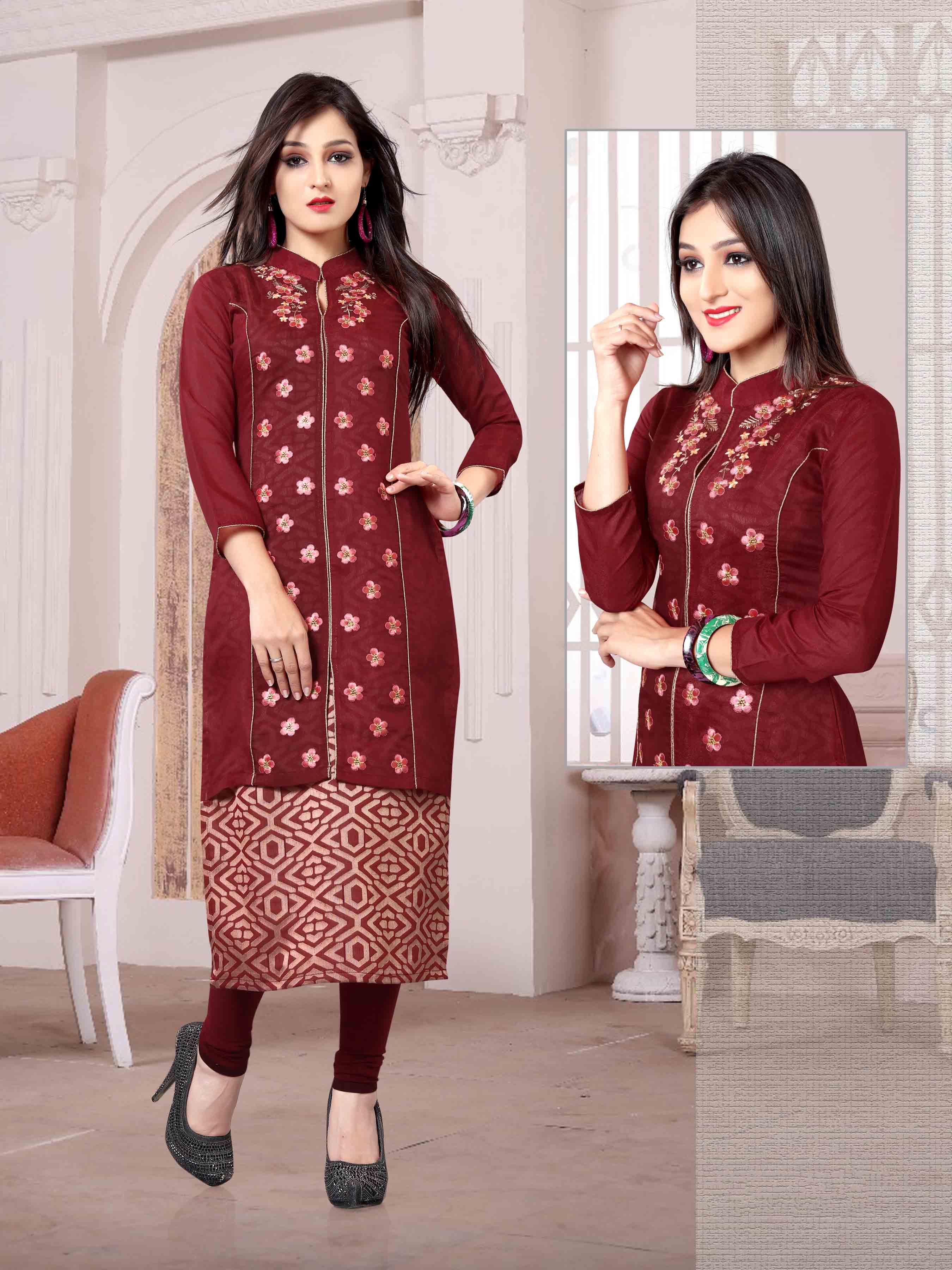 Chanderi Chex & Rayon Kurti Nexa CB067 | Readymade Wear