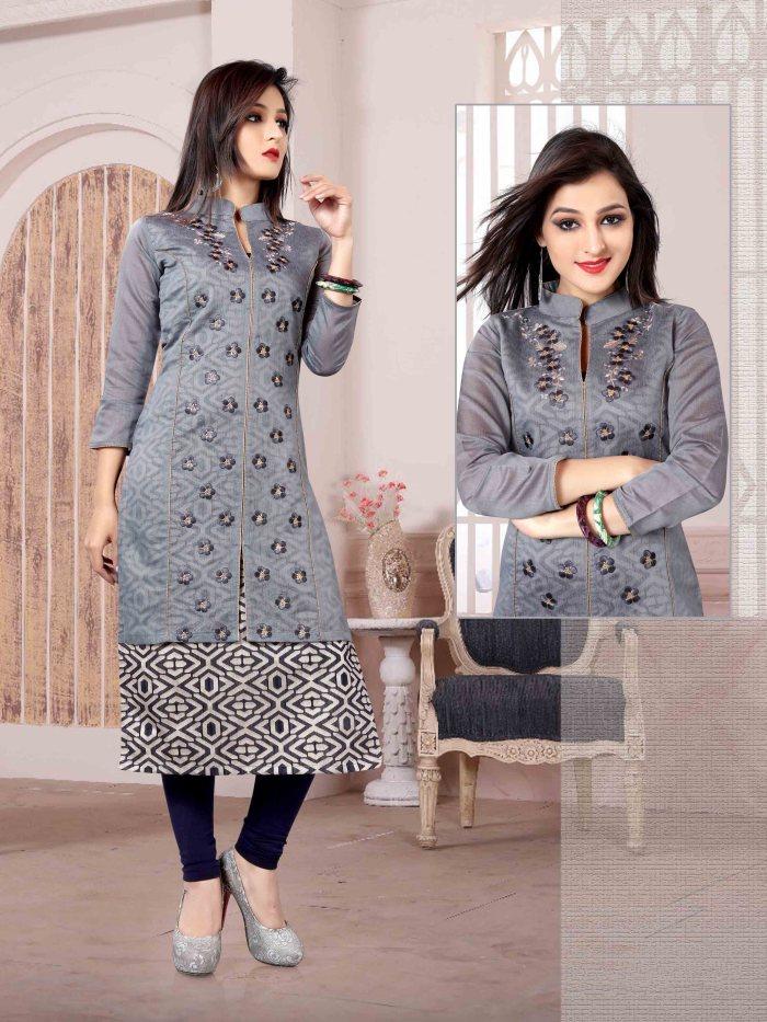 Chanderi Chex & Rayon Kurti Nexa CB068 | Readymade Wear