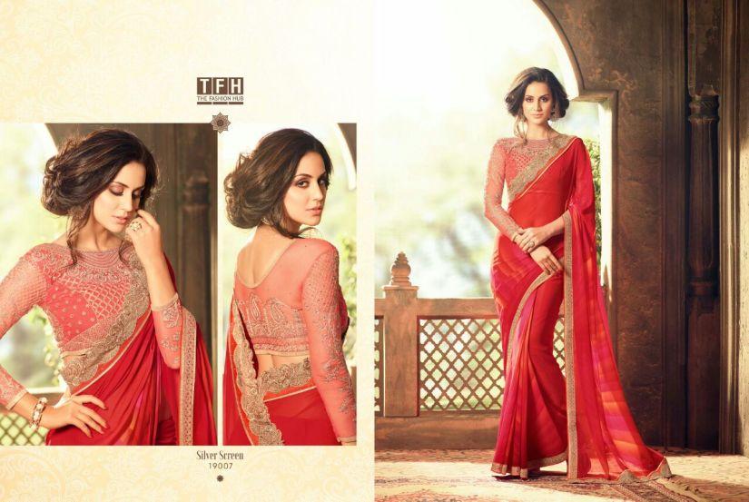 silver screen party wear saree 19007