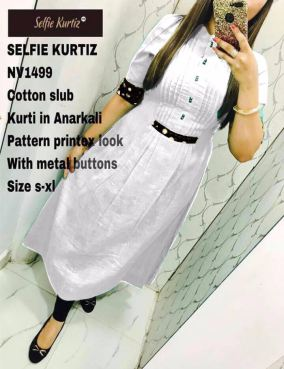 Cotton Slub Anarkali Selfie Kurti for Women