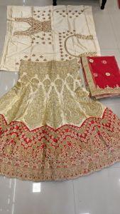 Heavy Kasab thread embroidery work bridal Chaniya Choli E