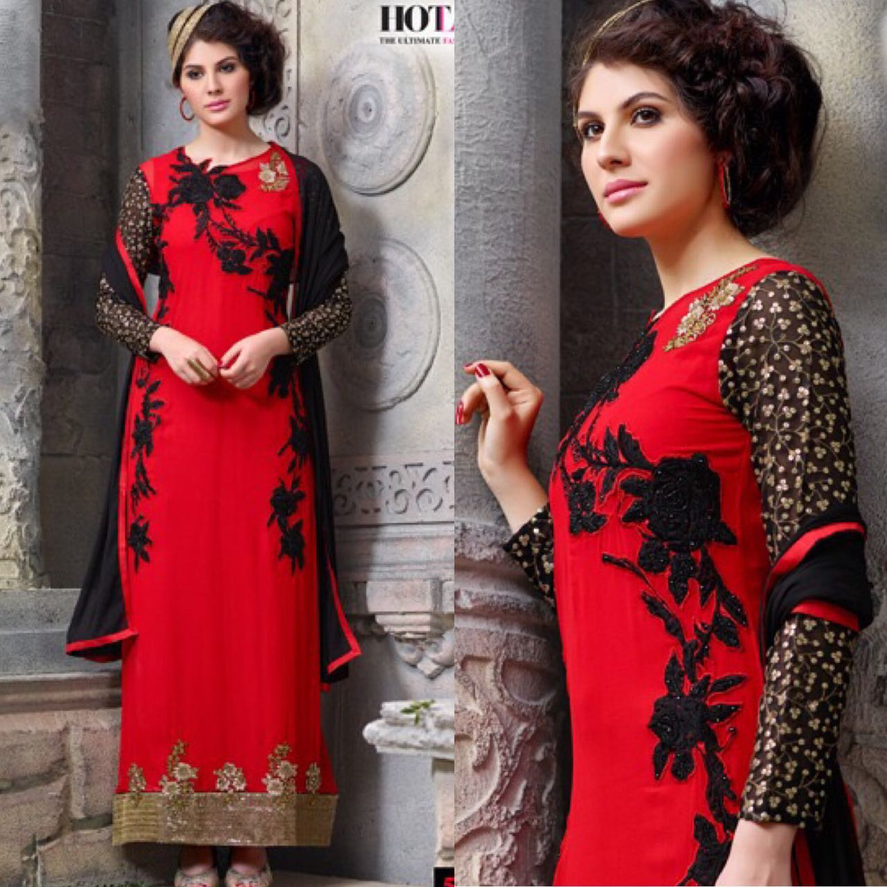 Shop Red&Black Hotlady Straight Fit Floor Length Suit Online