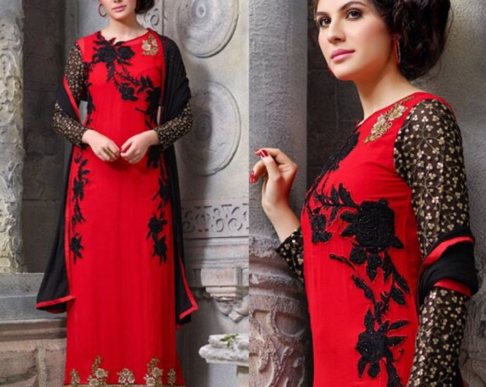 Red&Black Hotlady Straight Fit Floor Length Suit A
