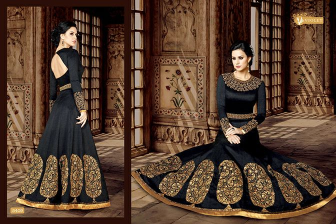 Swagat 5400 series Violet Indo Western Floor length Suits