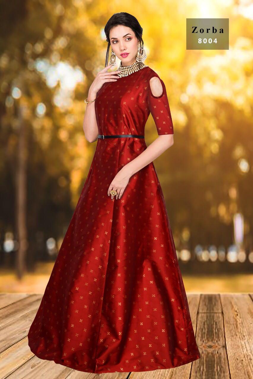 Jacquard Tapeta Fancy Silk Western Gowns