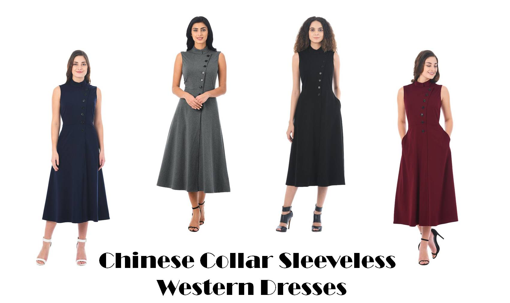 chinese collar sleeveless western dresses