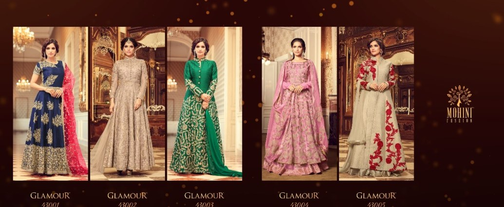 Mohini Fashions Floor Length Anarkali Salwar Suits Glamour v43 Wedding Collection