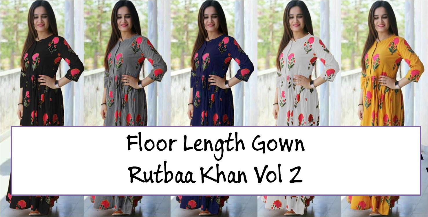 Floor Length Gown Rutbaa Khan Vol 2
