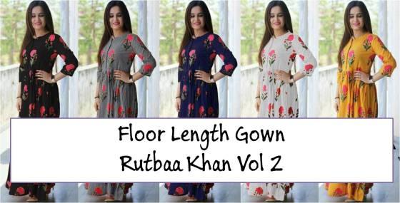 Floor Length Gown Rutbaa Khan Vol 2