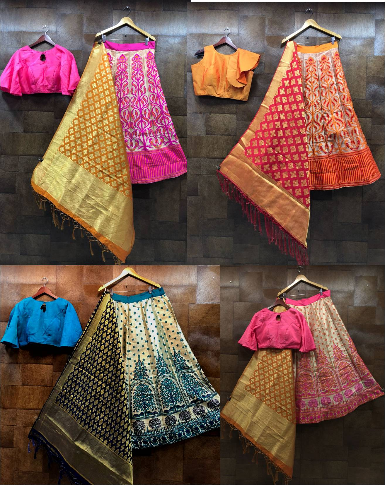 Shop Retro Crop Top Lehenga Online