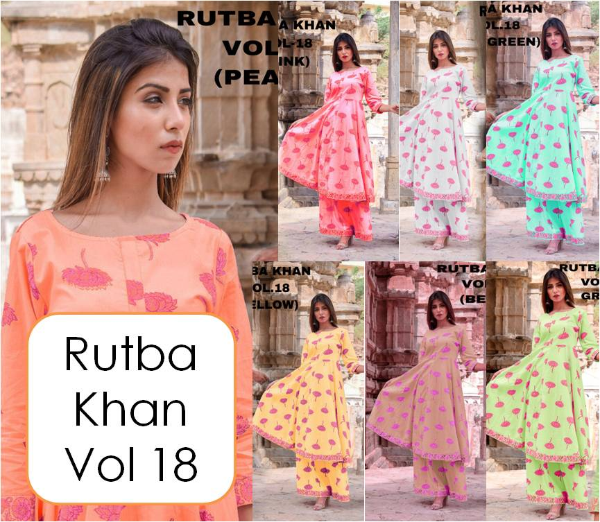 Shop Designer Long Kurti with Palazzo Pants Rutba Khan vol 18 Online