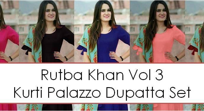 Kurti Palazzo Dupatta Set Rutba Khan Vol 3