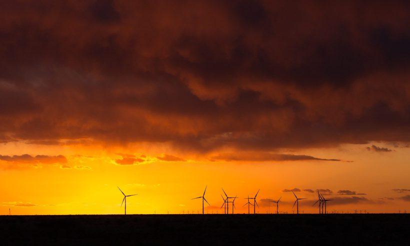 Joan, Sullivan, wind, energy, renewable, sunset, orange, sky, clouds