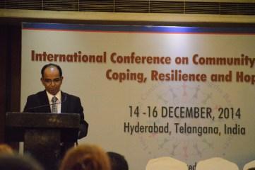 Venkat Pulla addresses the conference, Hyderabad.