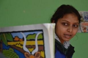 Shivani telling the story in Nepali